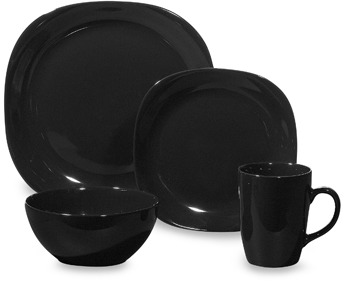 Bed Bath & Beyond Quadro Black 16-Piece Dinnerware Set
