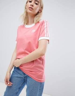 adidas 3 Stripe Ringer T-Shirt In Pink