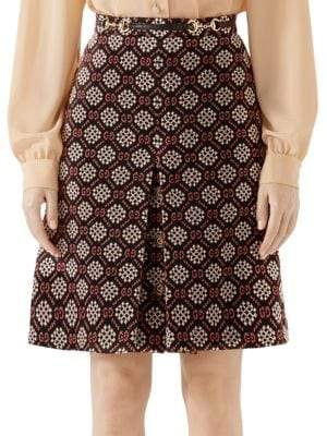 Gucci Micro GG Pleat Front Skirt