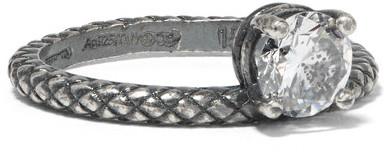 Bottega VenetaBottega Veneta - Oxidized Sterling Silver Cubic Zirconia Ring - 13