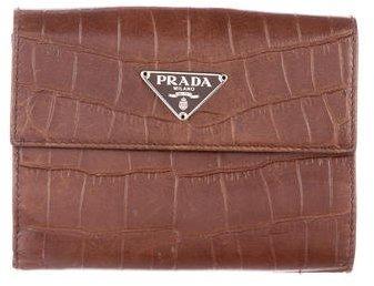 pradaPrada Embossed Compact Wallet
