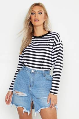25aad731a7b boohoo Plus Striped Long Sleeve T-Shirt