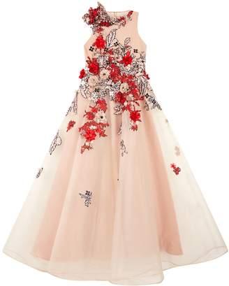 Mischka Aoki Floral Embellished Party Dress