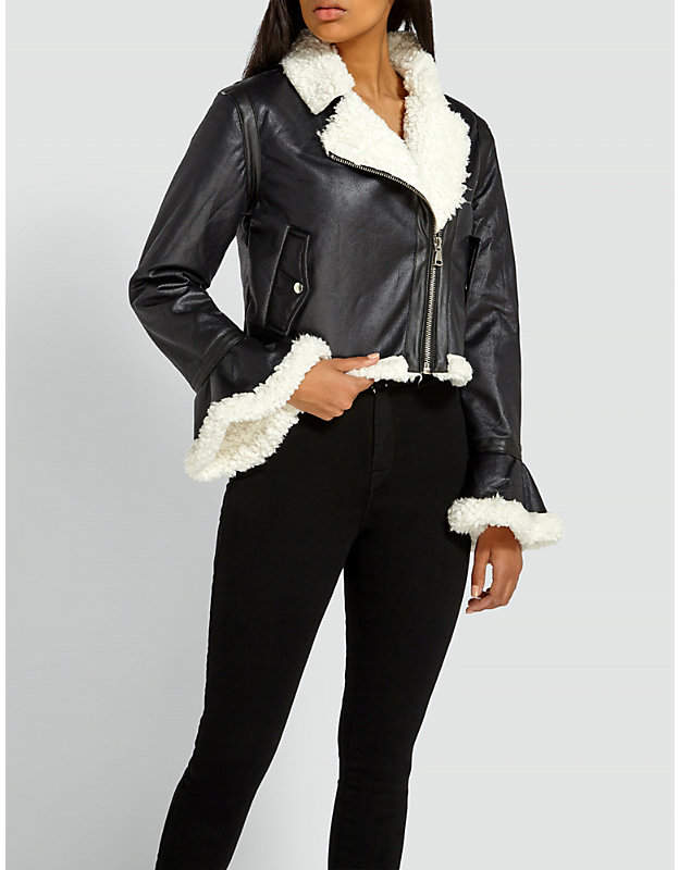 Bell-sleeve faux-leather jacket