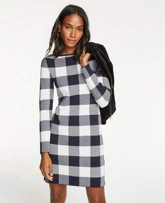 Ann Taylor Buffalo Plaid Sweater Dress