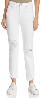 AG Jeans Phoebe High-Rise Straight Jeans in 5 Years Tattered White