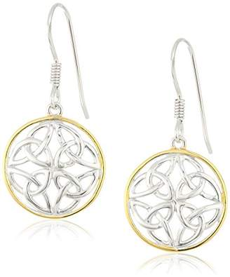 Celtic 18k Yellow Gold Plated Sterling Silver Two Tone Knot Round Drop Earrings