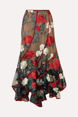 Costarellos - Embroidered Tulle Midi Skirt