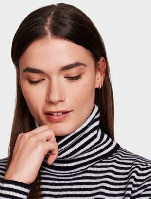 White + Warren Essential Cashmere Skinny Striped Turtleneck