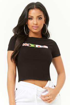 Forever 21 Flag Graphic Cropped Tee