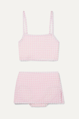 Solid & Striped Kids - Gingham Stretch-seersucker Bikini - Pink