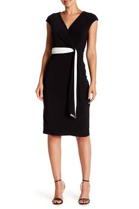Taylor Colorblock Waist Tie Surplice Neck Dress