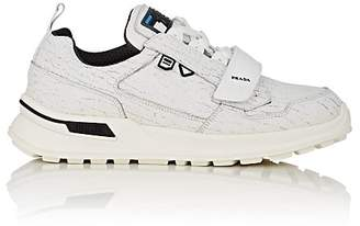 Prada Men's Rubber-Strap Cracked Leather Sneakers