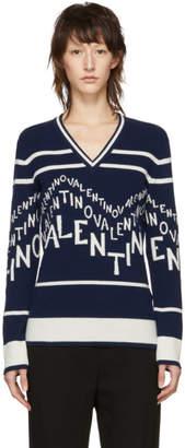 Valentino Navy and White Logo Chevron V-Neck Sweater
