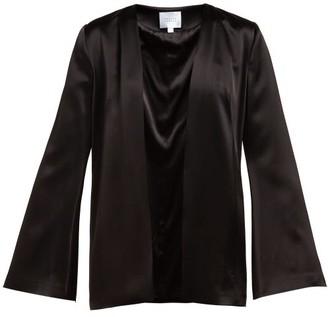 Galvan Collarless Satin Evening Jacket - Womens - Black