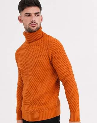 Burton Menswear chunky roll neck jumper in orange