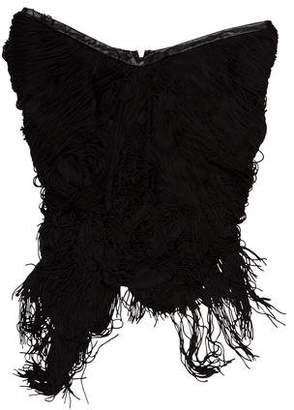 Haute Hippie Asymmetric Fringe Trim Mini Dress