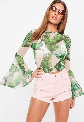 Missguided Pink Mesh Flare Sleeve Crop Top