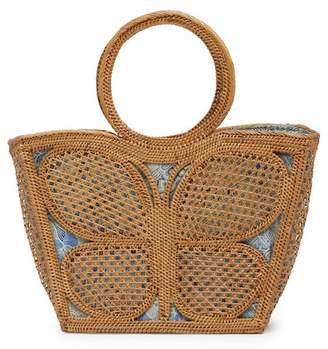 Pink Haley Butterfly Straw Woven Tote