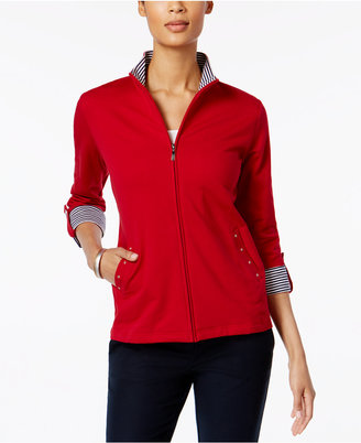 Karen Scott Zippered Roll-Tab Active Jacket, Only at Macy's $49.50 thestylecure.com