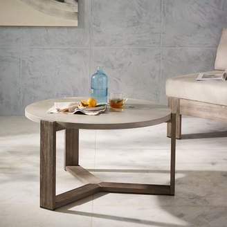 west elm Mosaic Tiled Outdoor Coffee Table - Solid Concrete/Weathered Wood