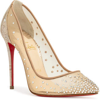 Christian Louboutin Follies Strass 100 silver pumps
