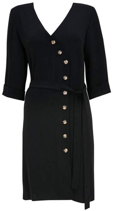 Black Asymmetric Button Tie Wrap Dress
