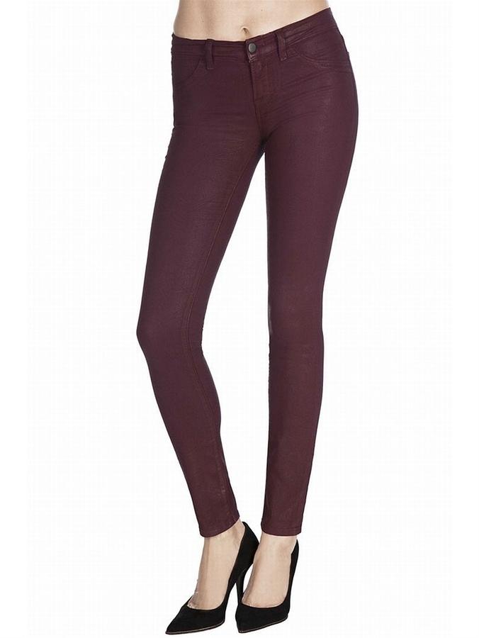 J BRAND 901 Low-Rise Coated Legging Jean In Dark Wine