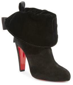 Christian Louboutin Kristofa 100 Suede & Velvet Booties $1,245 thestylecure.com