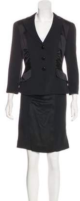 Armani Collezioni Satin-Trimmed Skirt Suit w/ Tags