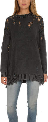 R 13 Acid Shredded Crewneck Sweater