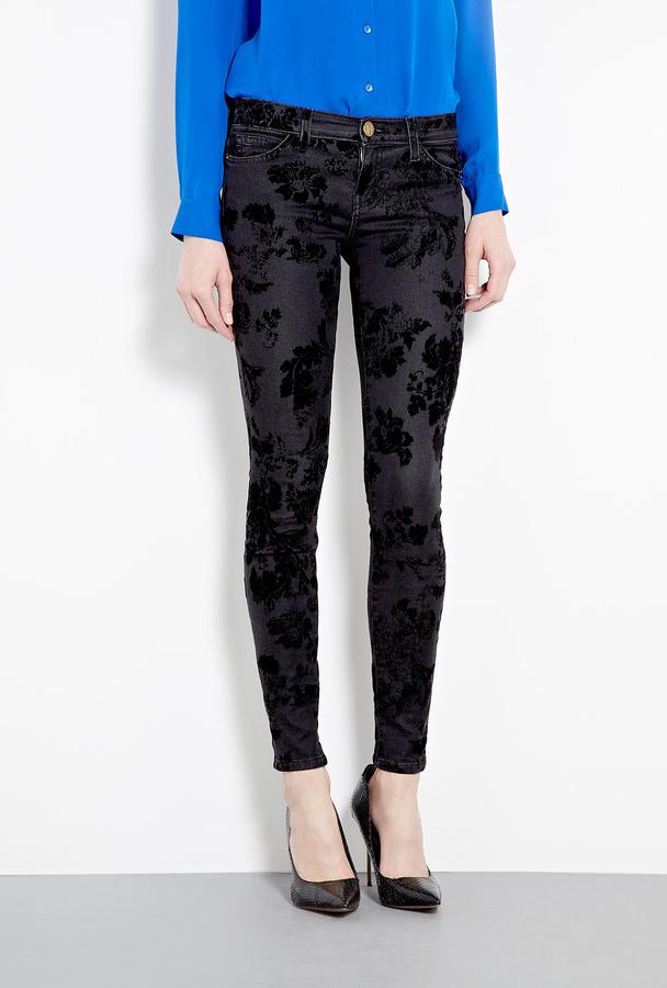 Current/Elliott Black Velvet Floral Skinny Jeans