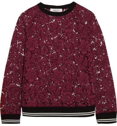 Valentino - Jersey-trimmed Cotton-blend Guipure Lace Sweatshirt - Burgundy