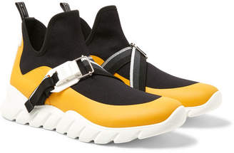 Fendi Leather-Trimmed Stretch-Knit Slip-On High-Top Sneakers