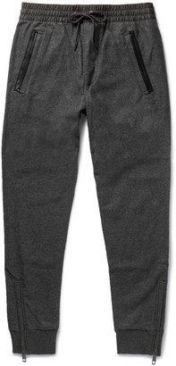 Burberry Slim-Fit Tapered Leather-Trimmed Wool-Blend Sweatpants $385 thestylecure.com