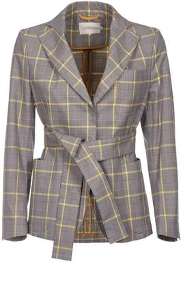 L'Autre Chose Prince Of Wales Checkered Print Wrapped Blazer