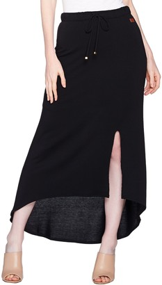 Peace Love World Hi-Low Hem French Terry Knit Maxi Skirt