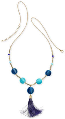 """INC International Concepts I.n.c. Gold-Tone Bead & Wrapped Ball Long Tassel Necklace, 34"""" + 3"""" extender"""