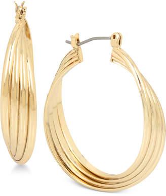 Kenneth Cole New York Rose Gold-Tone Medium Multi-Row Twisted Hoop Earrings