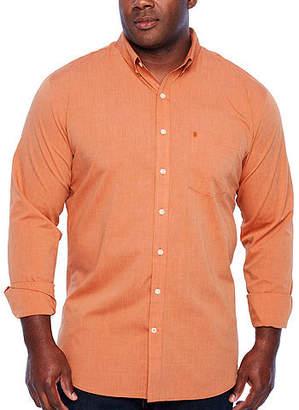 Izod Tall Slim Premium Essential Woven Long Sleeve Button-Front Shirt-Slim