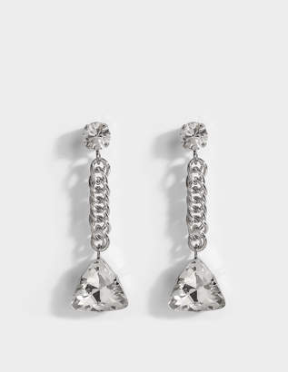 Christopher Kane Crystal Short Drop Mono Earring in Crystal Brass