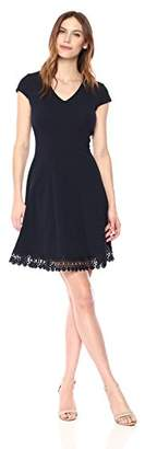 Sandra Darren Women's 1 PC Cap Sleeve Printed Floral Knit Fit & Flare Dress