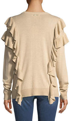 MICHAEL Michael Kors Long-Sleeve Crew-Neck Ruffle Sweater