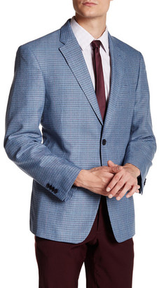 Tommy Hilfiger Blue Houndstooth Two Button Notch Lapel Jacket $295 thestylecure.com