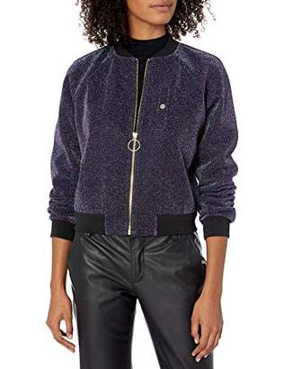 Armani Exchange A|X Women's Metallic Front Zipper Jacket with Cinched Cuffs and Waist