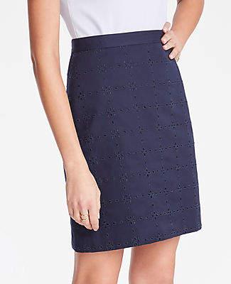 Ann Taylor Petite Eyelet A-Line Skirt
