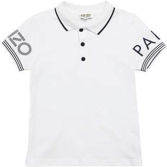 Kenzo Logo Print Cotton Piqué Polo Shirt