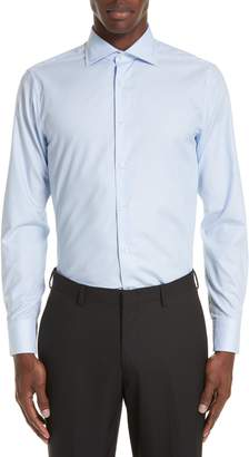 Canali Trim Fit Geometric Dress Shirt