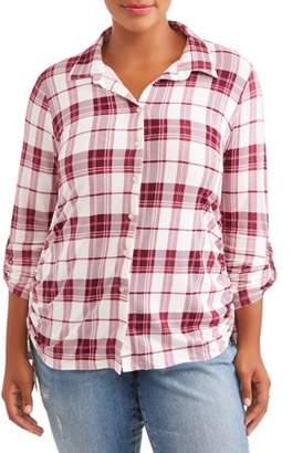 No Comment Plus Size Knit Plaid Cinched Shirt