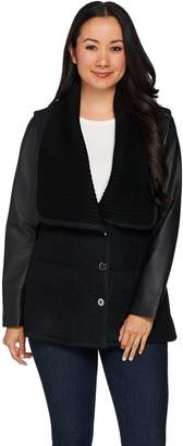 Halston H By H by Sweater Knit Collar Jacket with Leather Sleeves
